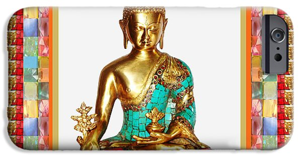 Christmas Greeting iPhone Cases - Buddha Sparkle Bronze Painted n Jewel Border Deco NavinJoshi  Rights Managed Images Graphic Design i iPhone Case by Navin Joshi