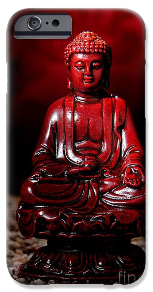 Buddhism iPhone Cases - Buddha Statue Figurine iPhone Case by Olivier Le Queinec