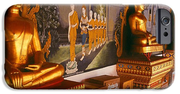 Buddhism iPhone Cases - Buddha Statues In A Temple, Bangkok iPhone Case by Panoramic Images