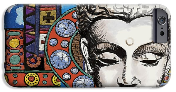 Corporate Art iPhone Cases - Buddha Tapestry Style iPhone Case by Corporate Art Task Force