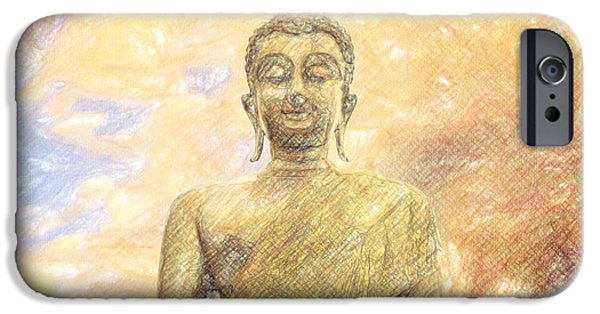 Thought Drawings iPhone Cases - Buddha iPhone Case by Taylan Soyturk