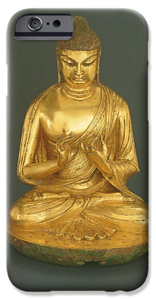 Buddhism iPhone Cases - Buddha Vairocana Dari, Tang Dynasty 618-907, Early 8th Century Gilt Leaded Bronze iPhone Case by Chinese School