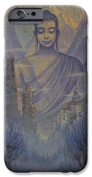Unity Paintings iPhone Cases - Buddha. Valley of silence iPhone Case by Vrindavan Das