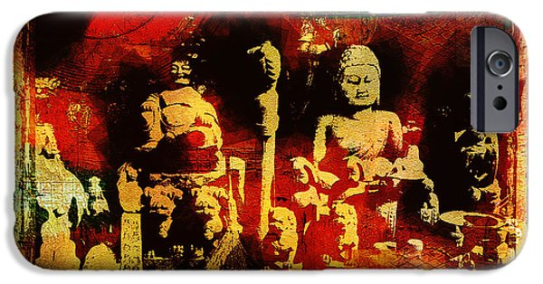 Buddhist iPhone Cases - Buddhist In Market Place iPhone Case by Page One Tang