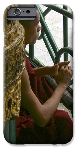 BUDDHIST MONK LEANING AGAINST A PILLAR SULE PAGODA CENTRAL YANGON MYANAR iPhone Case by Ralph A  Ledergerber-Photography