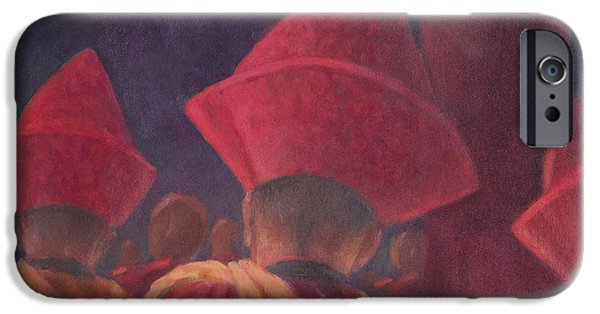 Buddhism iPhone Cases - Buddhist Monks, Bhutan, 2012 Acrylic On Canvas iPhone Case by Lincoln Seligman