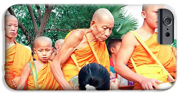 Buddhist iPhone Cases - Buddhist Monks Luang Prabang Laos iPhone Case by Panoramic Images