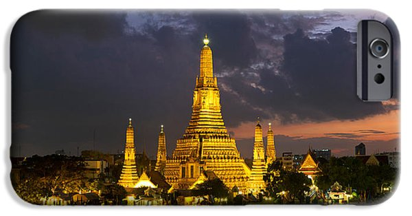 Buddhist iPhone Cases - Buddhist Temple Lit Up At Dawn, Wat iPhone Case by Panoramic Images