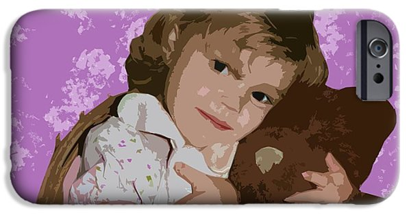 Little Girl Mixed Media iPhone Cases - Buddies iPhone Case by Ellen Henneke
