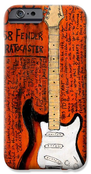 Fender Strat Paintings iPhone Cases - Buddy Holly 1958 Stratocaster iPhone Case by Karl Haglund