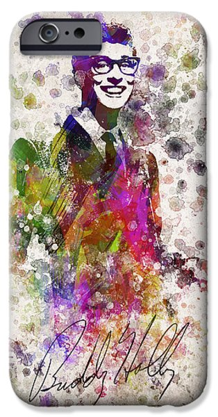 Splutter Digital Art iPhone Cases - Buddy Holly in Color iPhone Case by Aged Pixel