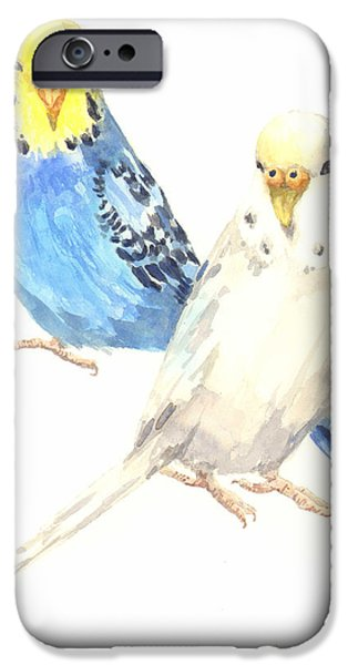 Parakeet iPhone Cases - Budgerigar Painting iPhone Case by Alison Fennell