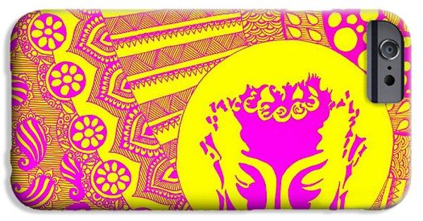 Parvati Paintings iPhone Cases - Budha Meditating iPhone Case by Sketchii Studio