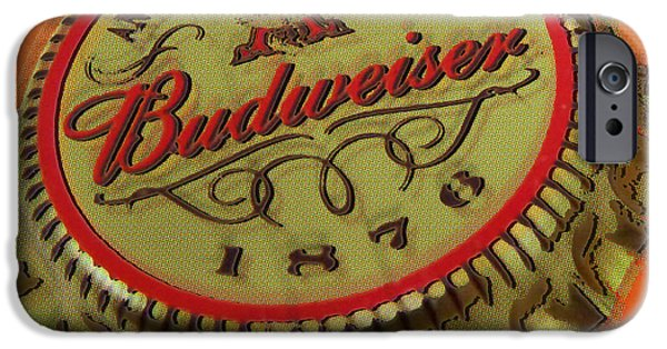 Decorating Mixed Media iPhone Cases - Budweiser Cap iPhone Case by Tony Rubino