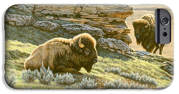 Bison iPhone Cases - Buffalo at Soda Butte iPhone Case by Paul Krapf