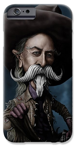 Caricature Digital Art iPhone Cases - Buffalo Bill iPhone Case by Andre Koekemoer