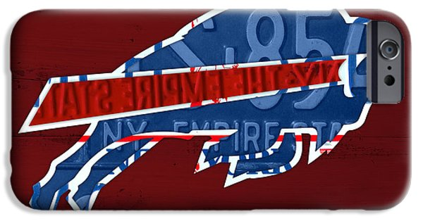 Buffalo Art iPhone Cases - Buffalo Bills Football Team Retro Logo New York License Plate Art iPhone Case by Design Turnpike
