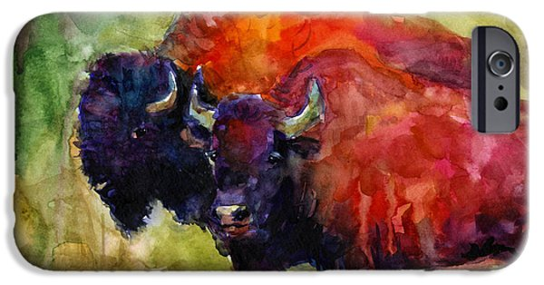 Bison iPhone Cases - Buffalo Bisons painting iPhone Case by Svetlana Novikova