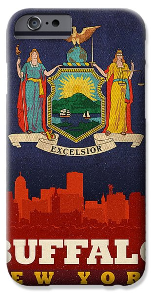 Buffalo Art iPhone Cases - Buffalo City Skyline Flag of New York State Art Poster Series 003 iPhone Case by Design Turnpike