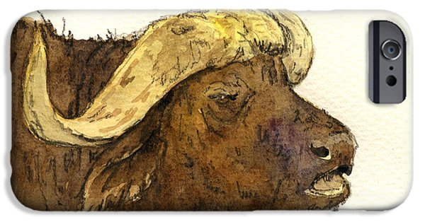 Nature Study Paintings iPhone Cases - Buffalo head iPhone Case by Juan  Bosco
