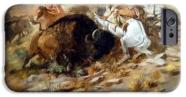Mammals Digital iPhone Cases - Buffalo Hunt iPhone Case by Charles Russell