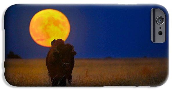 Bison Photographs iPhone Cases - Buffalo Moon iPhone Case by Kadek Susanto