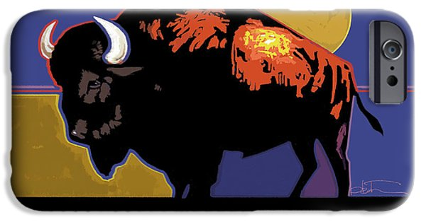 Bison iPhone Cases - Buffalo Moon iPhone Case by R Mark Heath