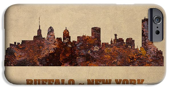 Skylines Mixed Media iPhone Cases - Buffalo New York City Skyline Rusty Metal Shape on Canvas iPhone Case by Design Turnpike