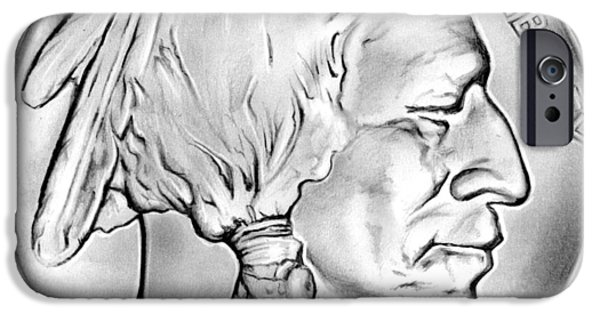 Coins Drawings iPhone Cases - Buffalo Nickel iPhone Case by Greg Joens