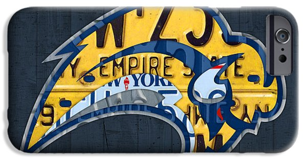 Hockey Mixed Media iPhone Cases - Buffalo Sabres Hockey Team Retro Logo Vintage Recycled New York License Plate Art iPhone Case by Design Turnpike