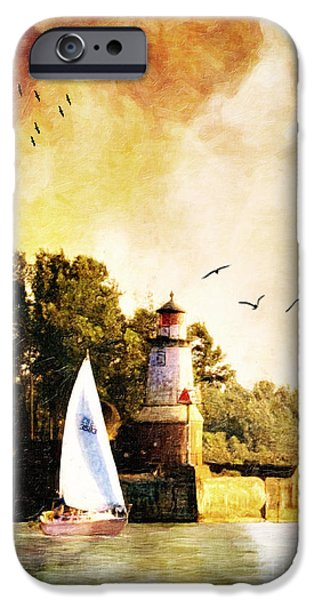 Sailboat iPhone Cases - Buffalo South Entrance Light iPhone Case by Lianne Schneider