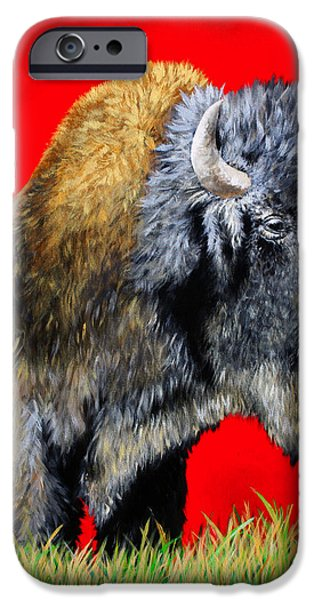 Native iPhone Cases - Buffalo Warrior iPhone Case by Teshia Art