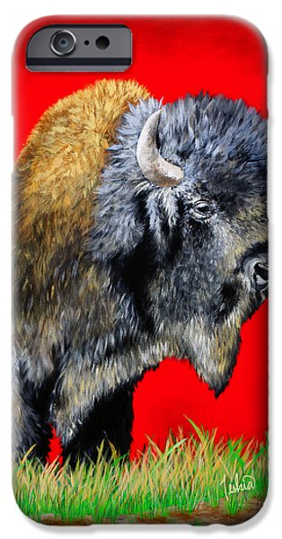 Best Seller iPhone Cases - Buffalo Warrior iPhone Case by Teshia Art