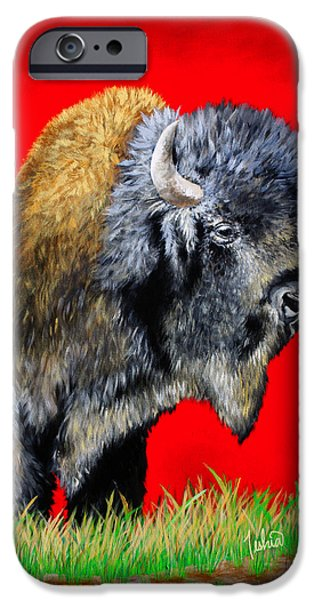Featured Paintings iPhone Cases - Buffalo Warrior iPhone Case by Teshia Art