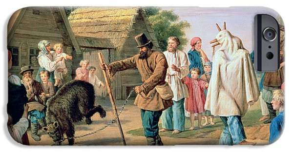 Begging iPhone Cases - Buffoons in a Village iPhone Case by Francois Nicholas Riss