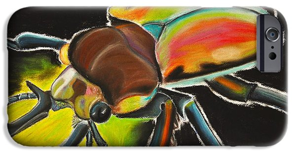 Creepy Pastels iPhone Cases - Bug Electric iPhone Case by Mik Smith