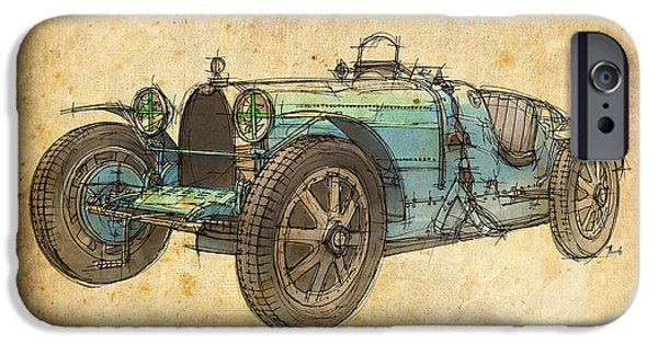 Music Drawings iPhone Cases - Bugatti iPhone Case by Pablo Franchi