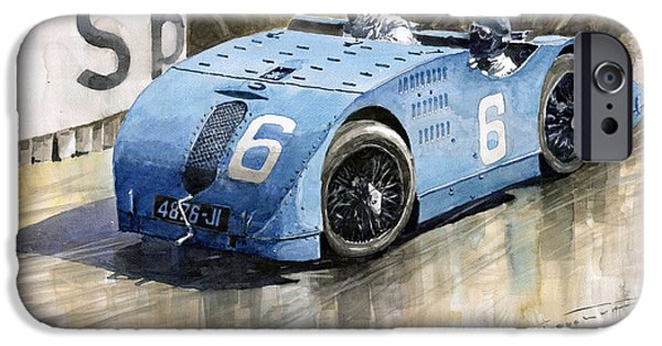 Retro Sport Car iPhone Cases - Bugatti Type 32 Tank 1923 French GP  iPhone Case by Yuriy  Shevchuk