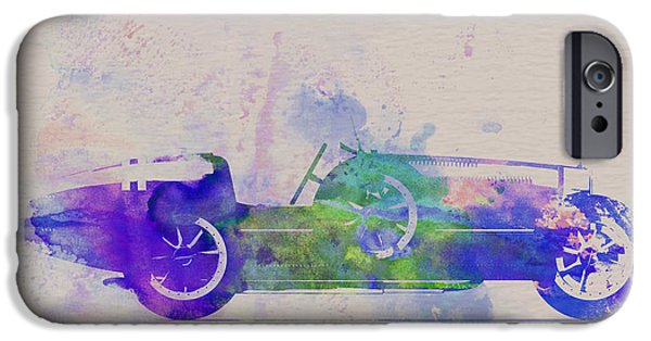Automotive Drawings iPhone Cases - Bugatti Type 35 R Watercolor 2 iPhone Case by Naxart Studio
