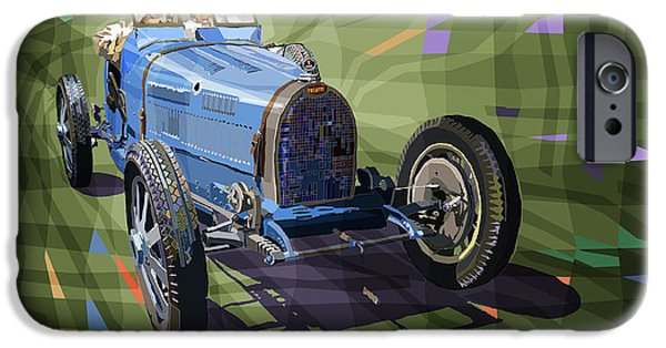 Retro Sport Car iPhone Cases - Bugatti Type 35 iPhone Case by Yuriy Shevchuk