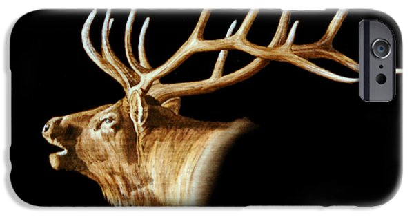 Bull Pyrography iPhone Cases - Bugle iPhone Case by Minisa Robinson