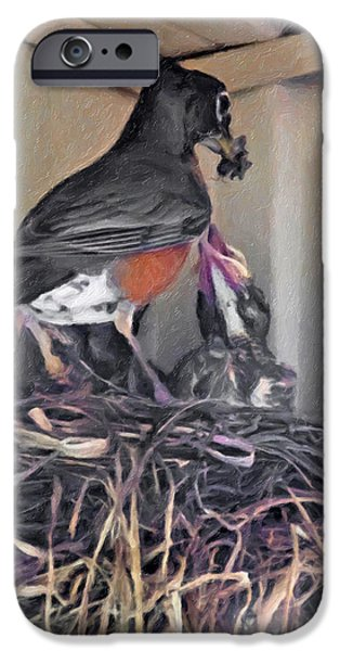 Baby Bird Digital iPhone Cases - Bugs for Baby impasto iPhone Case by Steve Harrington