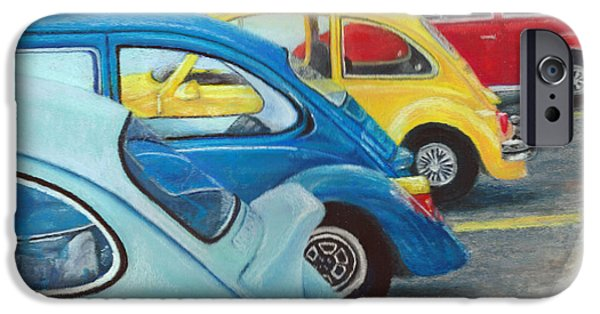 Vintage Car Pastels iPhone Cases - Bugs in a Row iPhone Case by Jennifer Hammer