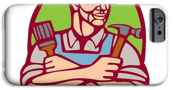 Linocut iPhone Cases - Builder Carpenter Paintbrush Hammer Linocut iPhone Case by Aloysius Patrimonio
