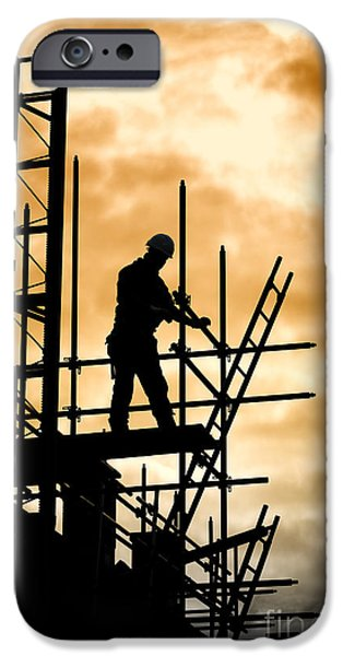 Work Tool iPhone Cases - Builder On Scaffolding Building Site iPhone Case by Hans Slegers