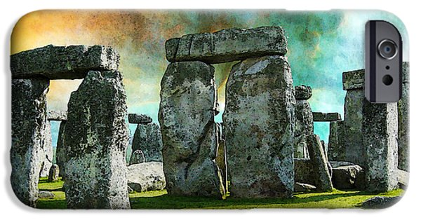 Prehistoric iPhone Cases - Building A Mystery - Stonehenge Art By Sharon Cummings iPhone Case by Sharon Cummings