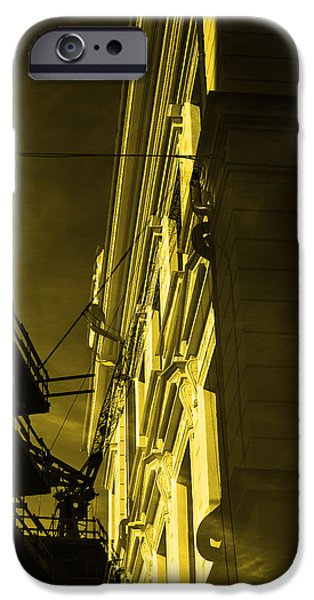 City Scape Mixed Media iPhone Cases - Building and crane  iPhone Case by Toppart Sweden
