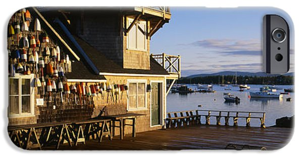 New England Village iPhone Cases - Building At The Waterfront, Fishing iPhone Case by Panoramic Images