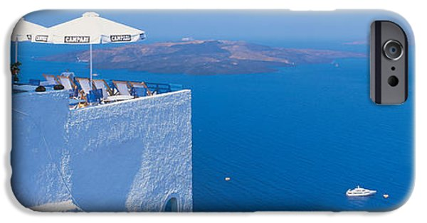 Balcony iPhone Cases - Building On Water, Boats, Fira iPhone Case by Panoramic Images