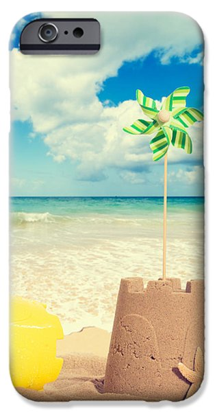 Sandcastles iPhone Cases - Building Sandcastles iPhone Case by Amanda And Christopher Elwell